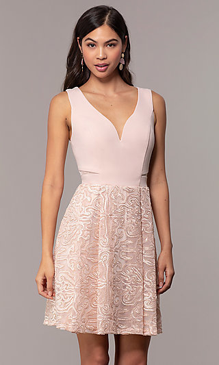 Lace-Skirt Pink Graduation Party Dress by Simply