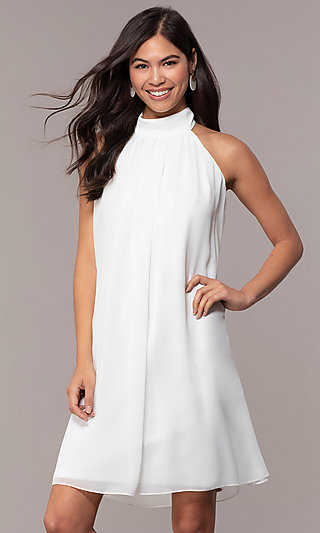 High-Neck Short Graduation Ivory Dress by Simply