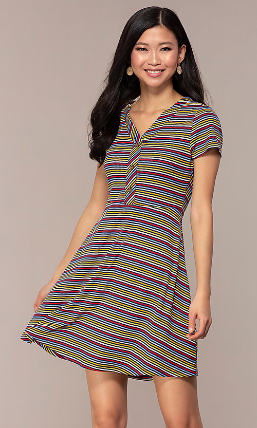 Image of short casual striped party dress with sleeves. Style: IK-RK59720 Front Image