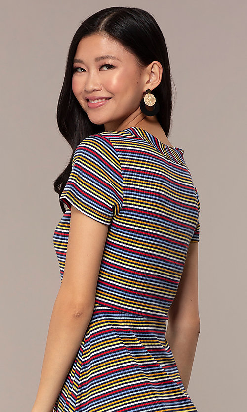 Image of short casual striped party dress with sleeves. Style: IK-RK59720 Detail Image 2