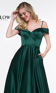 Image of off-the-shoulder prom dress with spaghetti straps. Style: CD-GL-G841 Detail Image 1