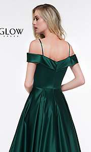 Image of off-the-shoulder prom dress with spaghetti straps. Style: CD-GL-G841 Detail Image 2