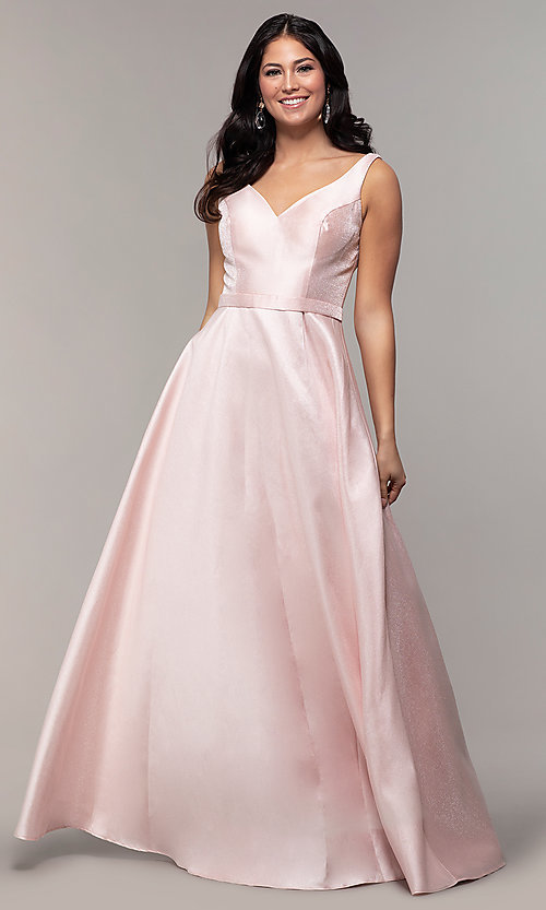 Image of long sateen a-line designer prom dress in blush pink. Style: TE-8065 Front Image