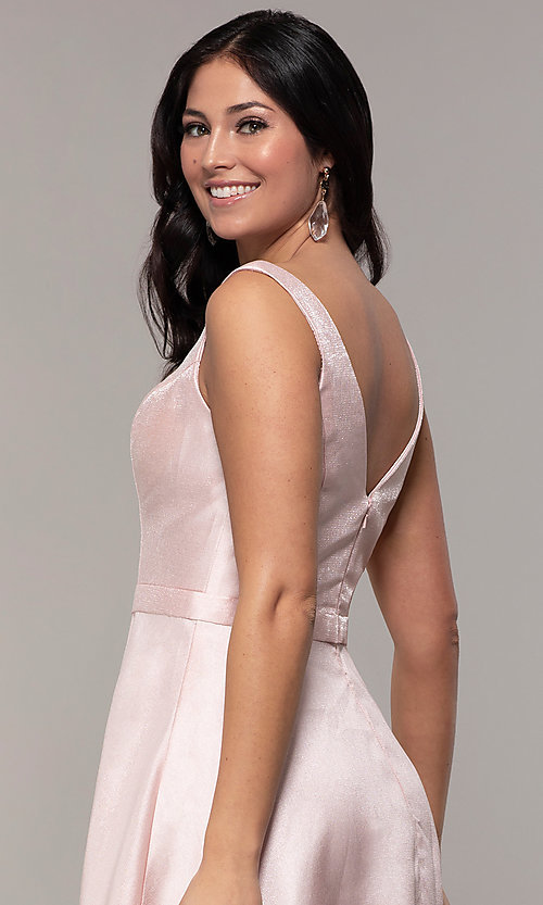 Image of long sateen a-line designer prom dress in blush pink. Style: TE-8065 Detail Image 2