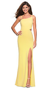 Image of backless asymmetrical-neck long prom dress. Style: LF-27126 Detail Image 7