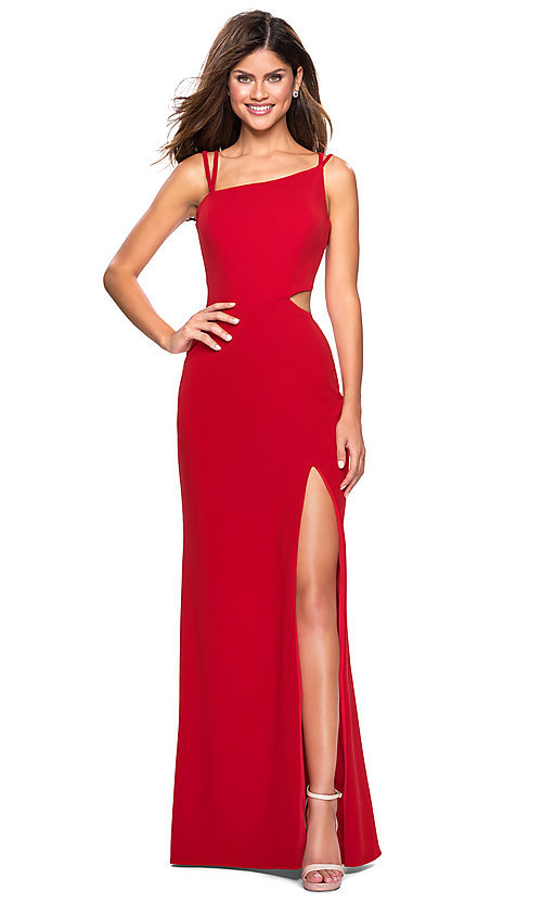 Image of backless asymmetrical-neck long prom dress. Style: LF-27126 Front Image