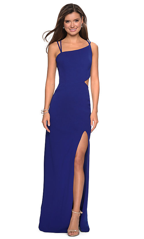 Image of backless asymmetrical-neck long prom dress. Style: LF-27126 Detail Image 5