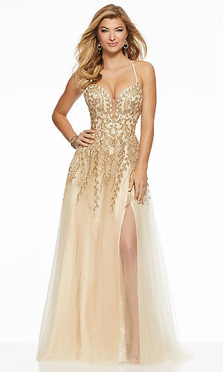 Metallic Embroidered V-Neck Long Prom Dress by Mori Lee