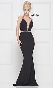 Image of v-neck long formal prom dress with beaded trim. Style: CD-GL-G810 Front Image