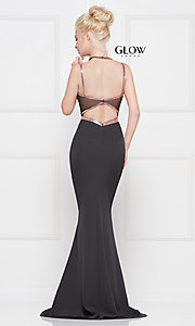 Image of v-neck long formal prom dress with beaded trim. Style: CD-GL-G810 Back Image
