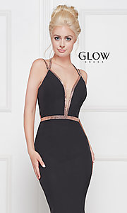 Image of v-neck long formal prom dress with beaded trim. Style: CD-GL-G810 Detail Image 1