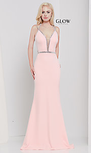 Image of v-neck long formal prom dress with beaded trim. Style: CD-GL-G810 Detail Image 3