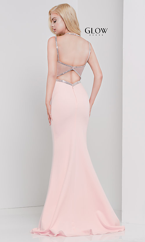 Image of v-neck long formal prom dress with beaded trim. Style: CD-GL-G810 Detail Image 4