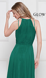 Image of ruched chiffon empire-waist long formal prom dress. Style: CD-GL-G817 Detail Image 2