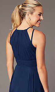 Image of ruched chiffon empire-waist long formal prom dress. Style: CD-GL-G817 Detail Image 6
