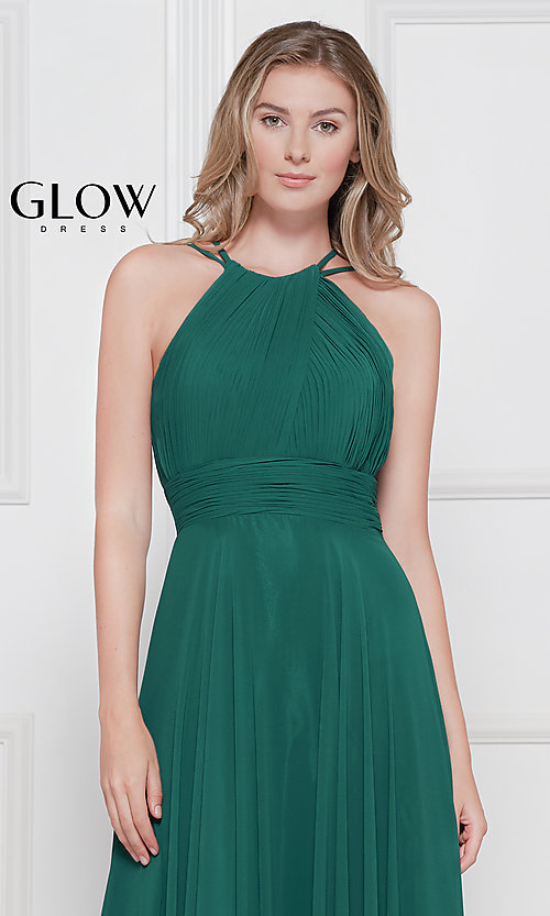 Image of ruched chiffon empire-waist long formal prom dress. Style: CD-GL-G817 Detail Image 1