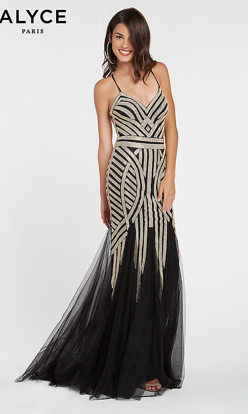 Image of long beaded v-neck formal gown by Alyce. Style: AL-60520 Front Image