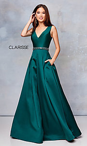 Image of long a-line prom dress with beaded waist. Style: CLA-3742 Front Image
