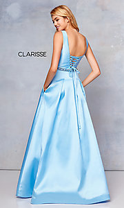 Image of long a-line prom dress with beaded waist. Style: CLA-3742 Back Image