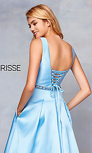 Image of long a-line prom dress with beaded waist. Style: CLA-3742 Detail Image 2