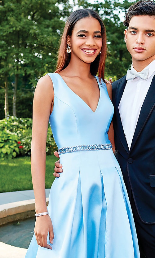 Image of long a-line prom dress with beaded waist. Style: CLA-3742 Detail Image 1