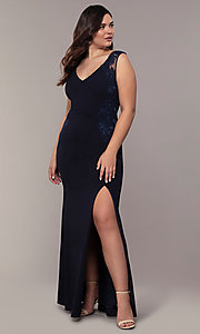 Image of navy blue long v-neck plus prom dress by Simply. Style: MCR-SD-3090 Detail Image 3