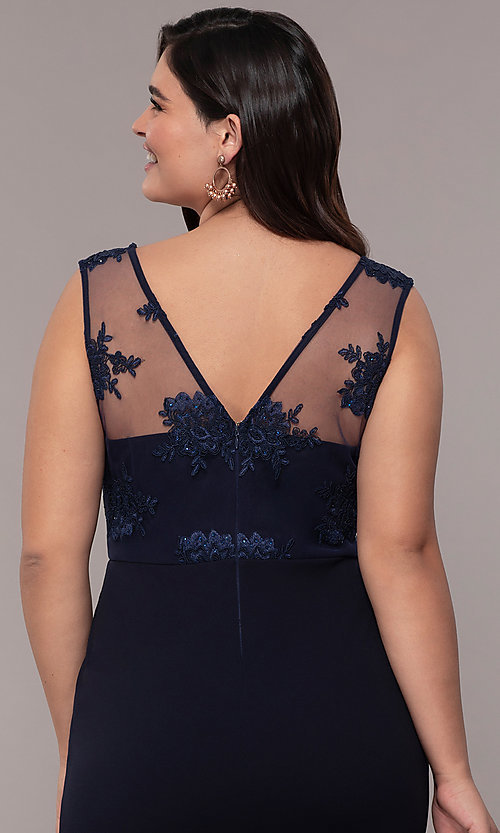 Image of navy blue long v-neck plus prom dress by Simply. Style: MCR-SD-3090 Detail Image 2