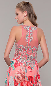 Image of long floral-print prom dress with sheer bodice. Style: TE-8030 Detail Image 2