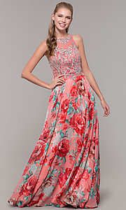 Image of long floral-print prom dress with sheer bodice. Style: TE-8030 Detail Image 3
