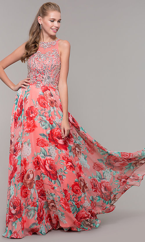 Image of long floral-print prom dress with sheer bodice. Style: TE-8030 Front Image