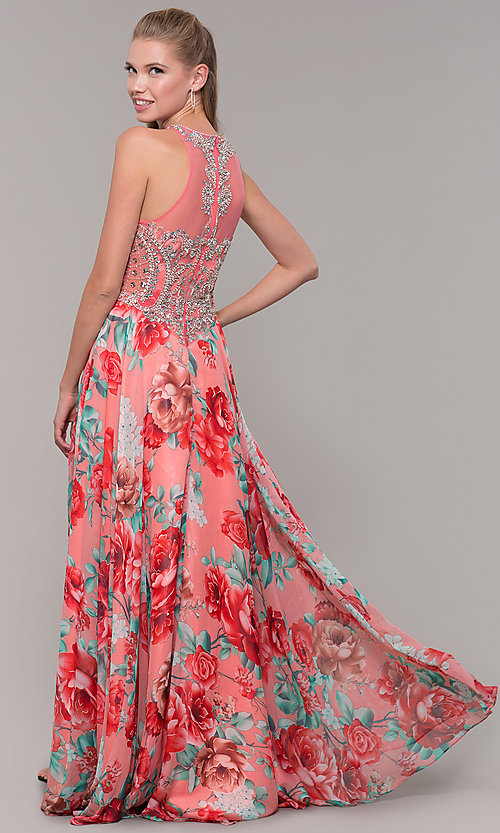 Image of long floral-print prom dress with sheer bodice. Style: TE-8030 Back Image