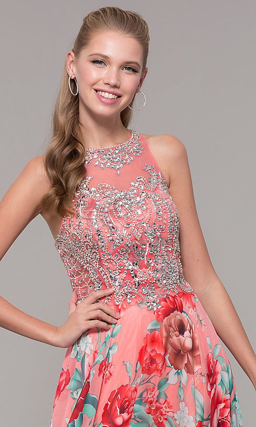 Image of long floral-print prom dress with sheer bodice. Style: TE-8030 Detail Image 1