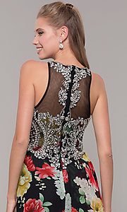 Image of embellished-bodice long floral-print prom dress. Style: TE-8019 Detail Image 2