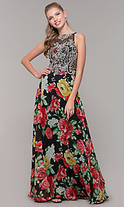 Image of embellished-bodice long floral-print prom dress. Style: TE-8019 Detail Image 3