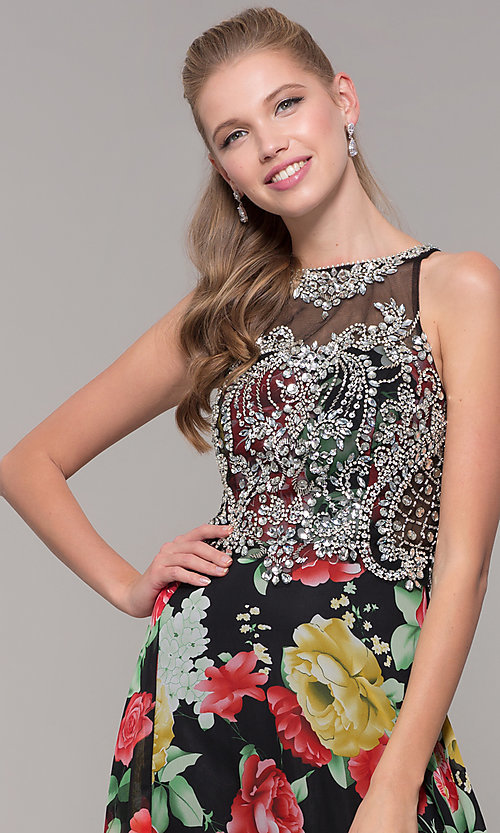 Image of embellished-bodice long floral-print prom dress. Style: TE-8019 Detail Image 1