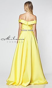 Image of beaded-waist off-the-shoulder long prom dress. Style: MF-E2781 Back Image