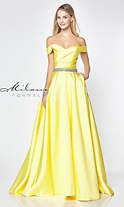 Image of beaded-waist off-the-shoulder long prom dress. Style: MF-E2781 Front Image