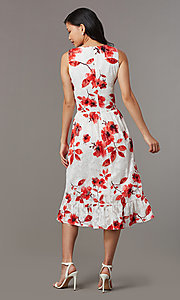 Image of high-low red-print short white party dress. Style: ECI-720237-75850 Back Image