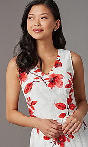 Image of high-low red-print short white party dress. Style: ECI-720237-75850 Detail Image 1