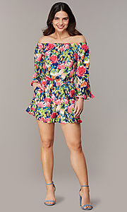 Image of off-the-shoulder floral-print romper with sleeves. Style: ECI-720569-75946A Front Image