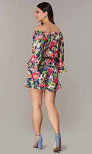 Image of off-the-shoulder floral-print romper with sleeves. Style: ECI-720569-75946A Back Image
