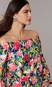 Image of off-the-shoulder floral-print romper with sleeves. Style: ECI-720569-75946A Detail Image 1