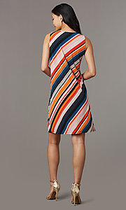 Image of v-neck short striped casual party dress. Style: ECI-719095-76019A Back Image