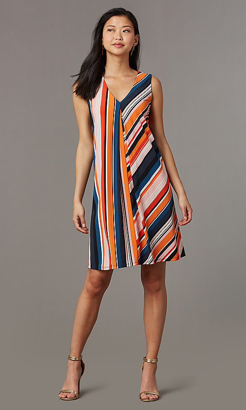 Image of v-neck short striped casual party dress. Style: ECI-719095-76019A Front Image