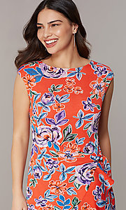 Image of short floral-print red party dress. Style: ECI-720463-75970A Detail Image 1