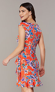 Image of short floral-print red party dress. Style: ECI-720463-75970A Back Image
