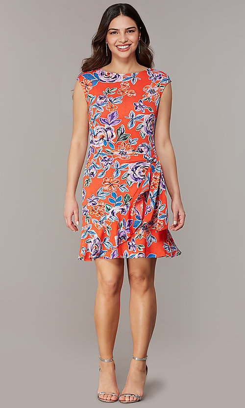 Image of short floral-print red party dress. Style: ECI-720463-75970A Detail Image 2
