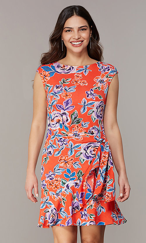 Image of short floral-print red party dress. Style: ECI-720463-75970A Front Image