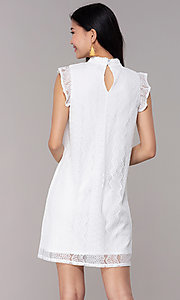 Image of short high-neck lace shift graduation party dress. Style: AS-A8290D4B02 Back Image