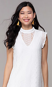 Image of short high-neck lace shift graduation party dress. Style: AS-A8290D4B02 Detail Image 1
